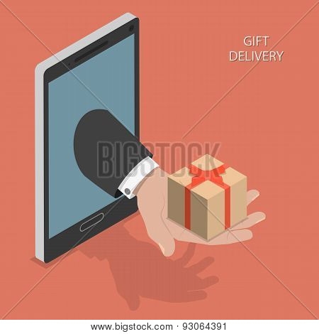 Gift delivery isometric vector illustration.