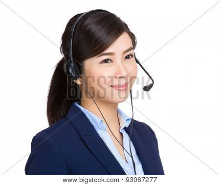 Customer services operator look away from camera