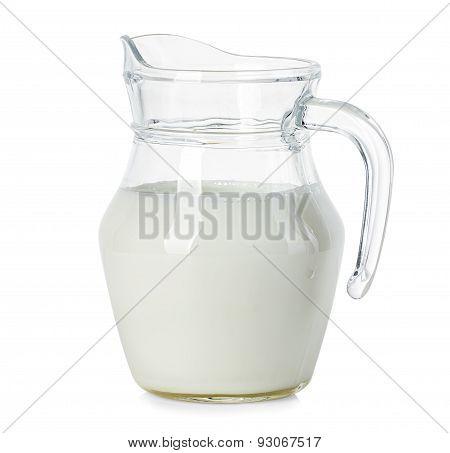 Glass Jug Of Fresh Milk Isolated On White Background