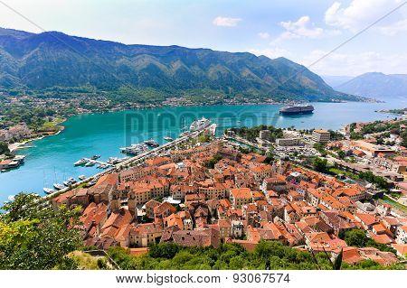 Overlooking The Bay Of Kotor In Montenegro