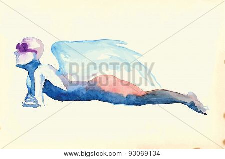 Lying Figure - Water Colors Converted To Vector