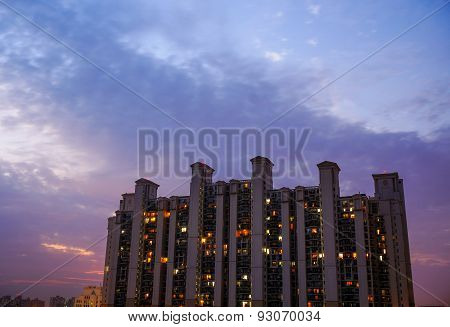 Multistoried Building In Gurgaon With Cloudy Colorful Sky