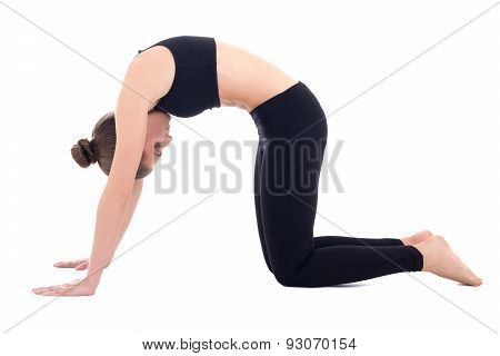 Young Woman Standing In Yoga Pose