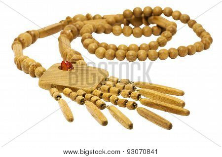 Beautiful Wooden Beads Necklace Isolated In A White Background