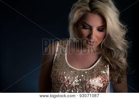 Blonde Latina Gold Sequin Tank Top