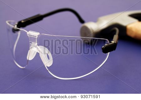 Safety Glasses On Blue