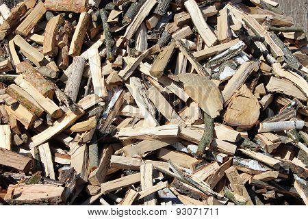 Heap Of The Prepared Fire Wood