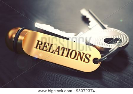 Relations - Bunch of Keys with Text on Golden Keychain.