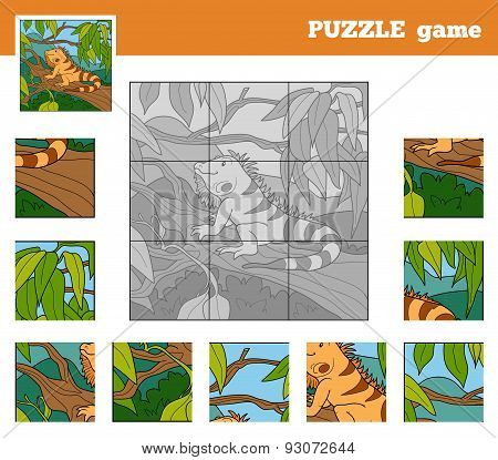 Puzzle Game For Children With Animals (iguana)