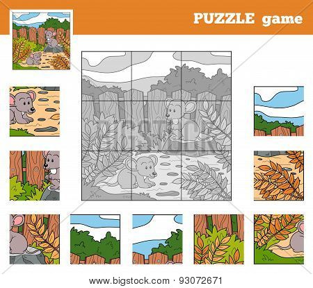 Puzzle Game For Children With Animals (mice)