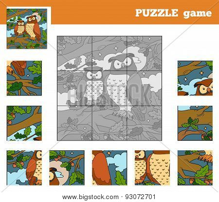 Puzzle Game For Children With Animals (owl)