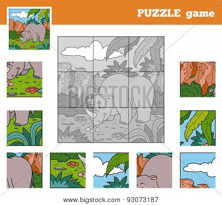 Puzzle Game For Children With Animals (rhino)