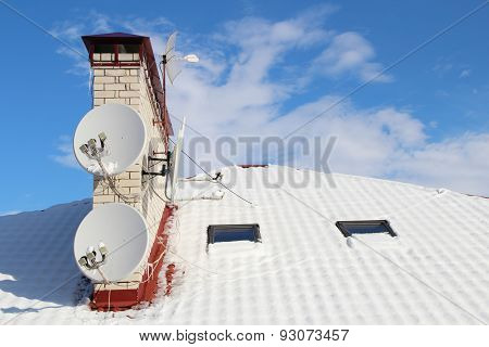 Aerials on a snow-covered roof