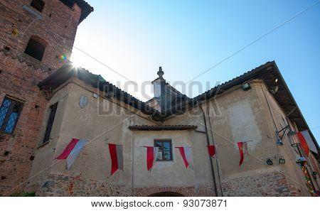 Medieval village, backlight. Color image