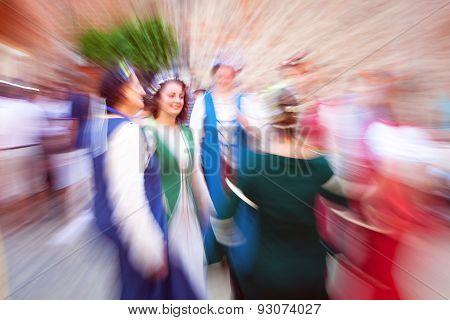 Medieval dancer. Color image