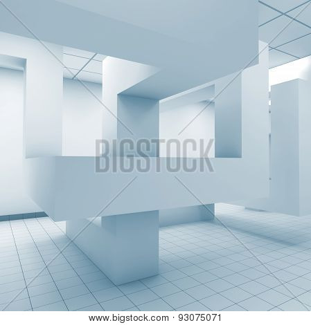 Abstract Blue Office Room Interior, 3D Illustration