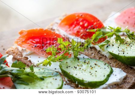 Healthy Food Theme. Bright Sandwiches With Tomato