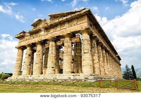 Temple Of Neptune The Famous Paestum Archaeological  Site Today Unesco World Heritage