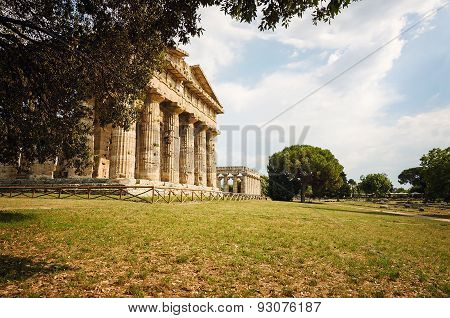 Archaeological  Site Of Paestum , Temple Of Neptune . Italy