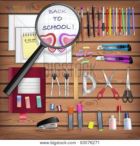 Back To School Set With Office Stationery Objects On Wooden Table In Vector