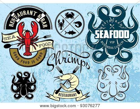 Vector Patterns With Lobster, Octopus, Shrimp For Logo Design Seafood