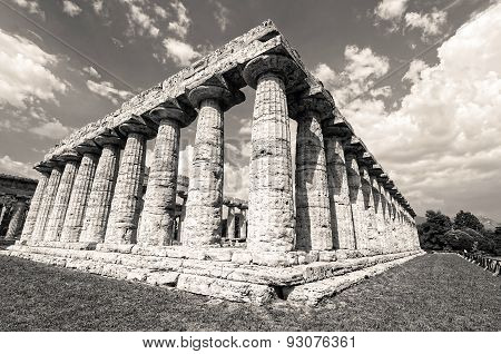 Temple Of Hera In Black An White The Famous Paestum Archaeological  Site Today Unesco World Heritage