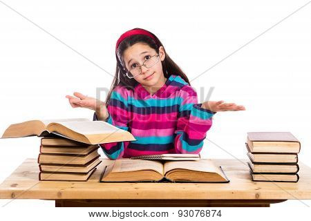 Girl with pile of old books showing ignorance