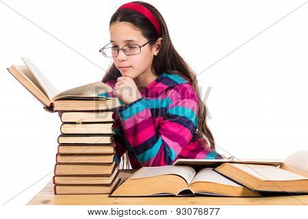 Girl reading the old book