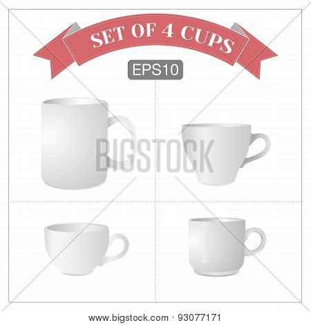 Vector set of 4 isolated white cups