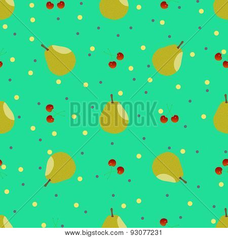 Pear and cherry seamless pattern