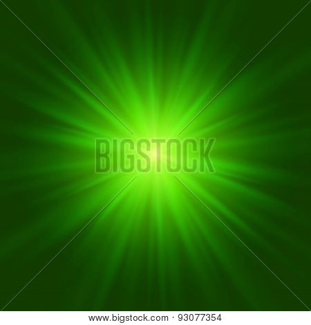 Abstract green glowing background. Vector illustration