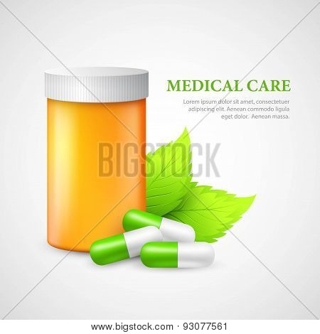 The container and pills. Eco medicine. Vector illustration