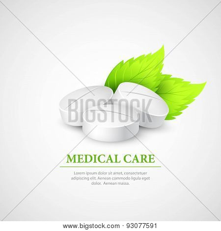 Pill Wit Leaf. Vector Illustration