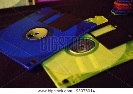 Closeup Of Blue And Yellow Green Floppy Disk