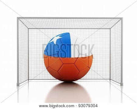 3D Soccer Ball With Chile Flag
