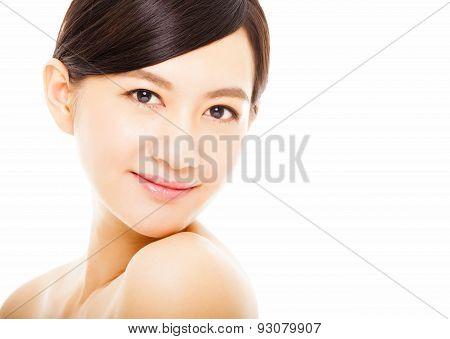 Closeup Beautiful Asian Young Woman Face
