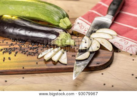 Stilllife With Cutted Eggplant Slices, Kitchen Knife
