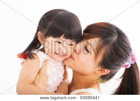 Happy Mother Kissing Her Daughter