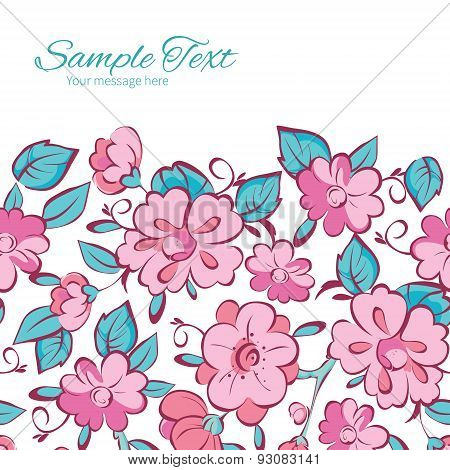 Vector Pink Blue Kimono Flowers Horizontal Frame Seamless Pattern Background