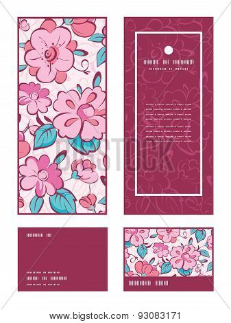 Vector pink blue kimono flowers vertical frame pattern invitation greeting, RSVP and thank you cards