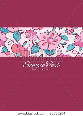 Vector pink blue kimono flowers stripe frame vertical card invitation template