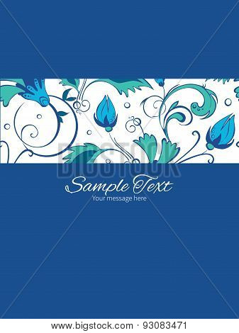 Vector blue green swirly flowers stripe frame vertical card invitation template