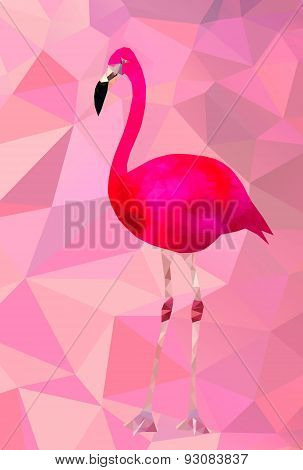 Pink flamingo bird triangle vector poster