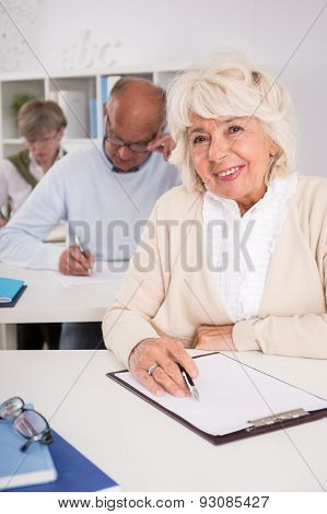 Elder Student With Empty Paper