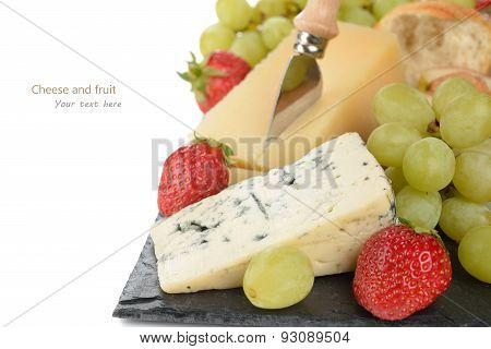 Blue Cheese With Strawberries And Grapes