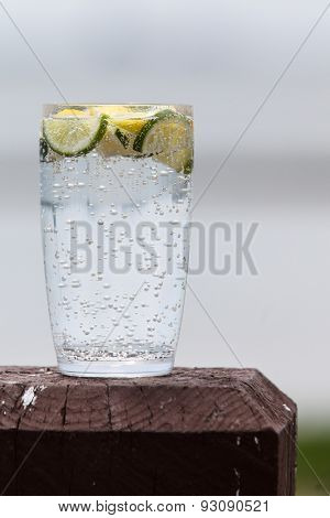 Sparkling water with lemon and lime