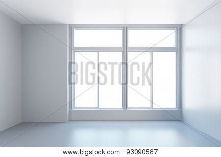 white empty room with window, 3d rendering
