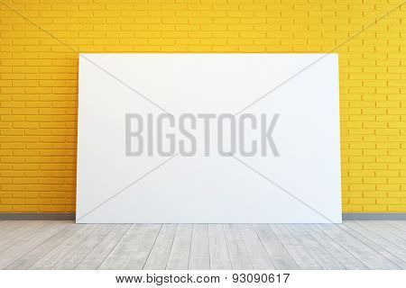 yellow room with blank picture