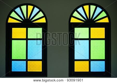 Vintage window multicolored stained glass In churches in temples background