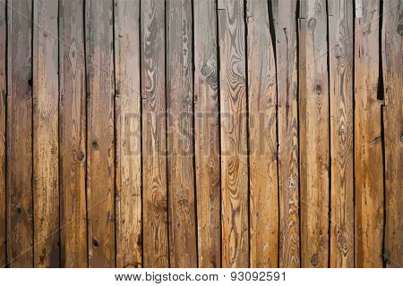 painted old wooden wall. brown background, vector